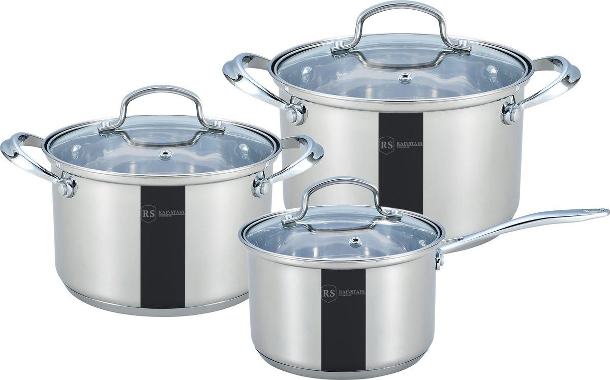 Набор посуды Rainstahl, 10 предметов. 1616-06RS\CW1616-06RS\CWНабор посуды из нержавеющей стали. У посуды стеклянный крышки. Состав: Кастрюли с крышками: 18 х 10,5 см объем 2,7 л; 20 х 11,5 см объем 3,7 л; Ковш с крышкой: 16 х 9,5 см объем 2,0 л.