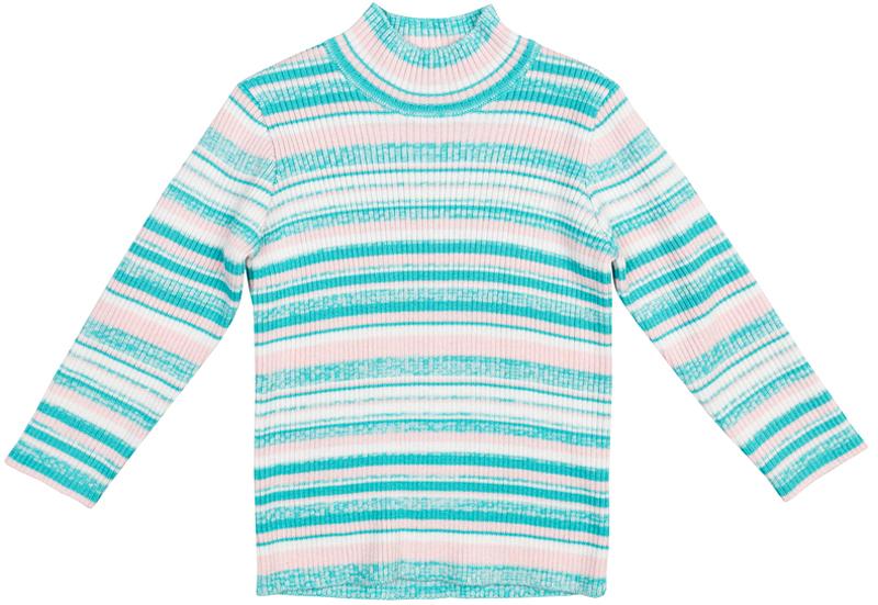Свитер для девочки PlayToday, цвет: голубой, белый, розовый. 378055. Размер 74378055Удобный свитер PlayToday с воротником-стойкой - актуальное решение для повседневного гардероба ребенка. Модель выполнена в технике Yarn Dyed - в процессе производства используются разного цвета нити. Тем самым изделие, при рекомендуемом уходе, не линяет и надолго остается в исходном виде. Метод вязки изделия - лапша.