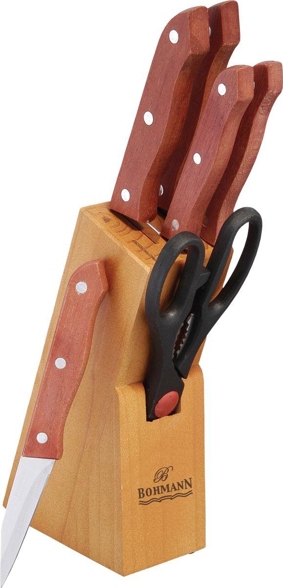 """Набор """"Bohmann"""" состоит из ножа шеф-повара, ножа для мяса, обвалочного ножа, разделочного  ножа, ножа для снятия кожуры, ножниц и подставки. Лезвия ножей изготовлены из  нержавеющей стали, благодаря чему обладают сверхвысокой твердостью и износостойкостью.   Эргономичные бакелитовые рукоятки позволят держать нож свободно и максимально удобно.  Нарезать продукты или чистить овощи теперь станет намного проще.  Ножи """"Bohmann"""" станут незаменимым помощником на кухне и помогут создавать кулинарные  шедевры день за днем. Стильный дизайн набора эффектно дополнит интерьер кухни.  Толщина лезвия 1,5-1,2 мм"""