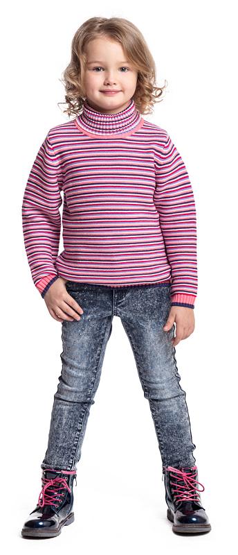 Свитер для девочки PlayToday, цвет: розовый, белый. 372057. Размер 110372057Удобный свитер PlayToday - отличное решение для повседневного гардероба ребенка. Модель выполнена по технологии Yarn Dyed - в процессе производства используются разного цвета нити. Изделие, при рекомендуемом уходе, не линяет и надолго остается в первоначальном виде. Горловина, манжеты и низ изделия на мягких трикотажных резинках. Свободный крой не сковывает движений ребенка.
