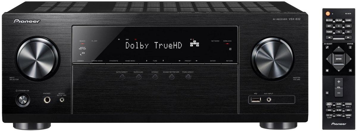 Pioneer VSX-832-S, Silver AV ресивер4719025.1-канальный ресивер Pioneer VSX-832 с мощностью 130 Вт на канал, имеет всё необходимое для потоковой передачи данных, с поддержкой Dolby Atmos и dts:X с Surround Enhancer, 4K Ultra HD, Video-Scaler, 4 HDMI-входами, HDCP 2.2.Модель VSX-832 со своими пятью мощными выходными каскадами Direct-Energy может превратить и вашу гостиную в кинотеатр Dolby Atmos. При этом благодаря нашей новой разработке Surround Enhancer для VSX-832 не нужны задние динамики. Таким образом, при использовании динамиков с поддержкой Dolby Atmos достаточно только двух передних динамиков и одного центрального для создания охватывающего трехмерного звучания нового объектно-ориентированного аудиоформата.Через свои четыре входа HDMI модель VSX-832 уже сейчас обрабатывает будущий Ultra HD видеоформат 4K (60p, 4:4:4, 24 бит) со всеми динамическими расширениями HDR, поэтому ваш домашний кинотеатр в течение многих лет будет находиться на самом современном уровне. Для прослушивания музыки даже не нужно подключать источник сигнала. Потому что VSX-832 сам для себя является источником программ благодаря встроенным сервисам потоковой передачи Spotify, Tidal и Deezer.Сохраненную локально музыку вы можете воспроизводить через WiFi, Bluetooth и AirPlay, а также (после обновления прошивки) с помощью встроенной технологии Chromecast или PlayFi - для любого формата файлов, любого смартфона или планшета, любого ПК или сетевого накопителя ресивер всегда предложит подходящую технологию потоковой передачи. То есть, и при просмотре фильмов, и при прослушивании музыки Pioneer VSX-832 ничего не требует от вас, а сам полностью подстраивается под ваши желания.Мощность: 130 ВтВходное сопротивление: 47 кОмКоличество предустановленных станций: 40