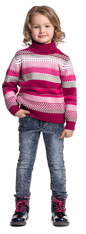 Свитер для девочки PlayToday, цвет: розовый, белый, серый. 372009. Размер 110372009Свитер PlayToday выполнен из хлопковой пряжи с добавлением акрила. Модель выполнена по технологии Yarn Dyed - в процессе производства используются разного цвета нити. При правильном уходе изделие не линяет и надолго остается в первоначальном виде. Горловина, манжеты и низ изделия на мягких трикотажных резинках. Свободный крой не сковывает движений ребенка.