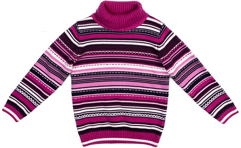 Свитер для девочки PlayToday, цвет: лиловый, белый. 372155. Размер 122372155Удобный свитер PlayToday с воротником-гольф - отличное решение для повседневного гардероба ребенка. Модель выполнена по технологии Yarn Dyed - в процессе производства используются разного цвета нити. При правильном уходе изделие не линяет и надолго остается в первоначальном виде. Горловина, манжеты и низ изделия на мягких трикотажных резинках. Свободный крой не сковывает движений ребенка.