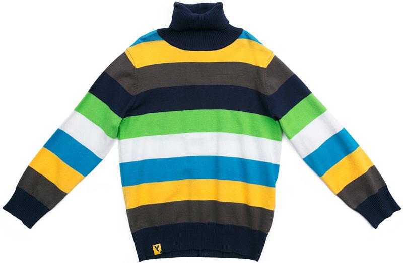 Свитер для мальчика PlayToday, цвет: серый, желтый, голубой. 371159. Размер 116371159Свитер от PlayToday с высоким горлом выполнен из смесовой ткани с высоким содержанием вискозы. Модель выполнена в технике Yarn Dyed - в процессе производства используются разного цвета нити. Изделие, при рекомендуемом уходе, не линяет и надолго остается в первоначальном виде. За счет содержания вискозы, модель обладает повышенной гигроскопичностью и высокой теплоизоляцией. Горловина, манжеты и низ изделия на мягких трикотажных резинках.
