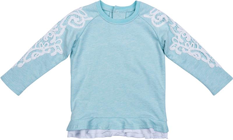 Джемпер для девочки PlayToday, цвет: голубой, белый. 378061. Размер 80378061Джемпер от PlayToday выполнен из смесовой ткани с высоким содержанием хлопка. На спинке удобные застежки-кнопки. На рукавах оригинальные нашивки из шитья контрастного цвета. Низ модели оформлен оборкой. Горловина и манжеты на мягких трикотажных резинках.
