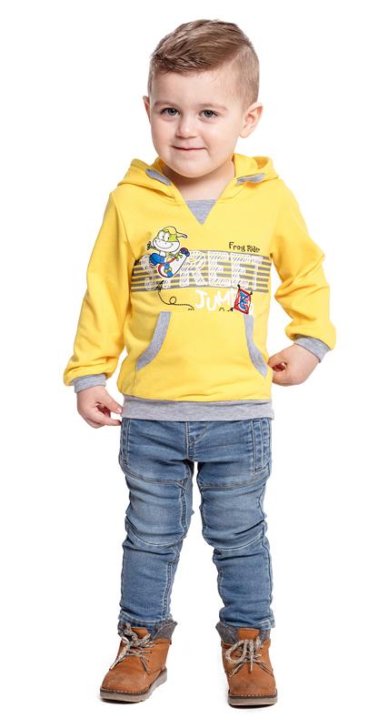 Толстовка для мальчика PlayToday Baby, цвет: желтый, серый. 377019. Размер 74377019Удобная толстовка PlayToday Baby, изготовленная из эластичного хлопка с ярким принтом, - отличное дополнение к повседневному гардеробу каждого мальчика. Модель свободного кроя, не сковывающая движений ребенка, имеет вшивной капюшон на регулируемом шнуре-кулиске и дополнена карманом-кенгуру. Манжеты и низ изделия дополнены мягкими трикотажными резинками контрастного цвета.