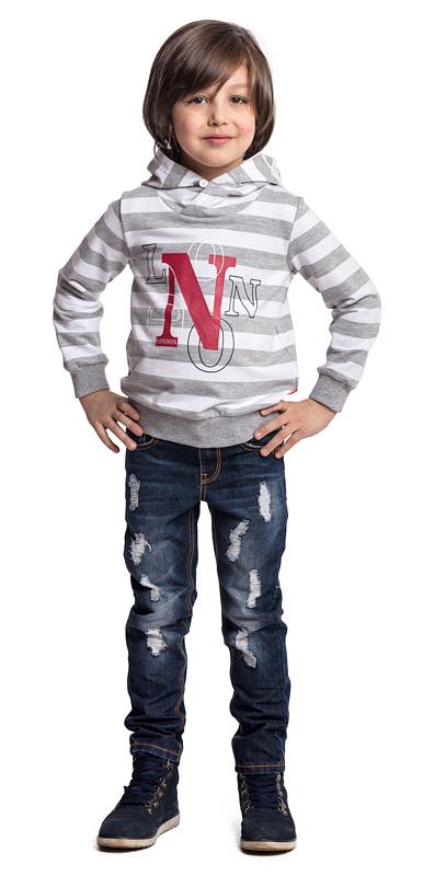 Толстовка для мальчика PlayToday, цвет: серый, белый. 371015. Размер 104371015Толстовка с капюшоном PlayToday - отличное решение для повседневного гардероба. Мягкие резинки на манжетах и по низу изделия удерживают тепло. Капюшон вшит оригинальным способом - внахлест и дополнен небольшой пуговицей. Модель декорирована оригинальным принтом. Мягкая ткань не вызывает неприятных ощущений.