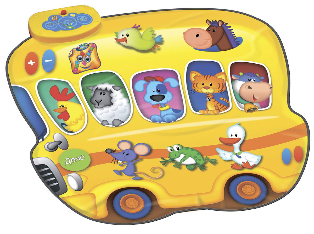 Знаток Игровой музыкальный коврик Автобус-зоопарк и человек-оркестр 2 в 1 - Интерактивные игрушки