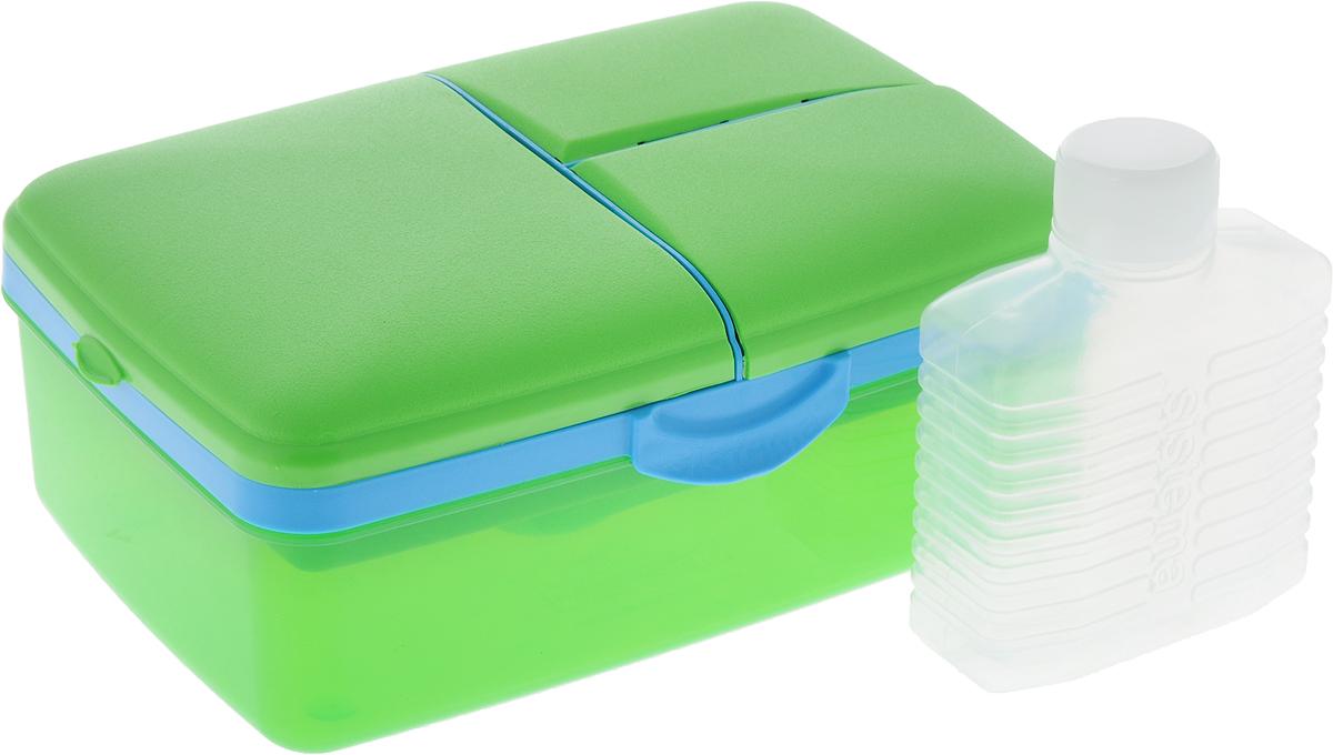 Ланч-бокс Sistema Lunch, 4-секционный, с бутылкой, цвет: салатовый, голубой, 1,5 л3965_салатовый, голубойЛанч-бокс Sistema Lunch представляет собой контейнер универсального назначения. Он имеет четыре секции, предназначенные для хранения и переноски различных продуктов. На крышке имеется силиконовая прокладка, которая способствует герметичному закрыванию клипсами, которые при необходимости можно заменить. В комплект входит бутылочка, в которую вы можете налить любимый напиток и не есть всухомятку.Преимущества ланч-бокса:- технология герметичности продумана таким образом, что ароматы блюд не испаряются при хранении, при этом каждую емкость легко открыть;- конструкция позволяет долго сохранять свежесть продуктов, не допуская их пересыхания или увлажнения;- предметы изготовлены из пластика, который не содержит бисфенола А и S, фталатов;- изделия безопасны для использования на детской кухне;- можно применять для хранения горячего, замораживания и разогрева пищи в микроволновых печах.Благодаря компактным размерам и относительно большой вместимости ланч-бокса Sistema Lunch подойдет для людей, чья жизнь проходит в постоянном движении. Кроме того, вам больше не придется носить с собой сразу несколько контейнеров.Можно мыть в посудомоечной машине.Общий размер ланч-бокса: 23 х 16 х 9 см.Объем ланч-бокса: 1,5 л.Размер бутылки: 11,5 х 9 х 4 см.