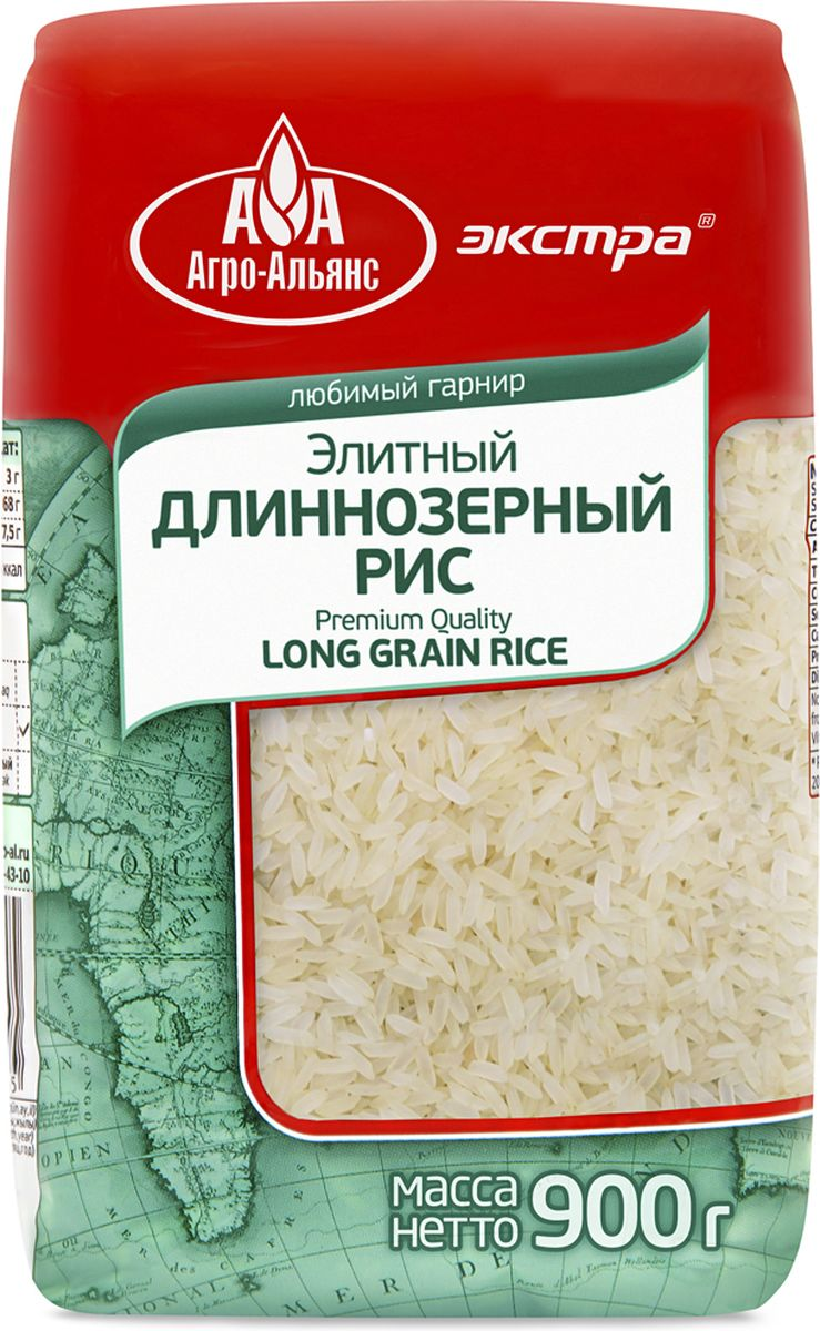 Агро-Альянс Экстра рис элитный длиннозерный, 900 г националь рис длиннозерный азиатский 900 г