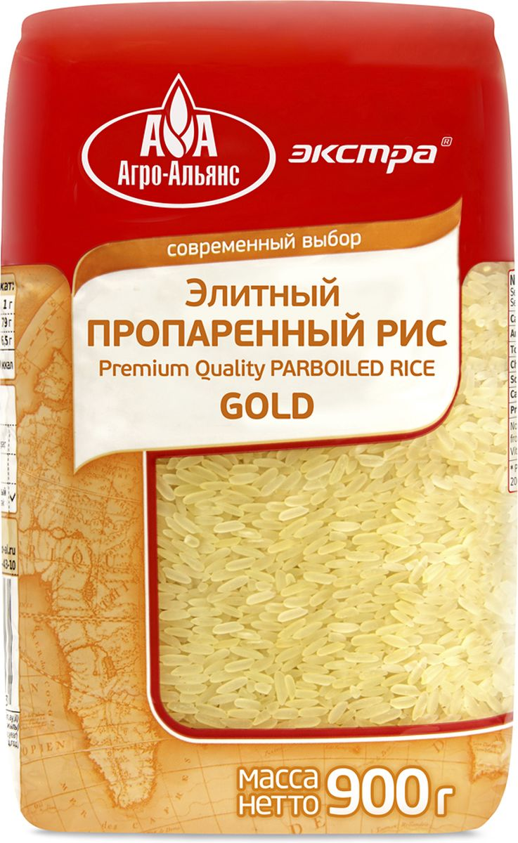 Агро-Альянс Экстра Gold рис элитный пропаренный, 900 г националь рис длиннозерный пропаренный золотистый 900 г