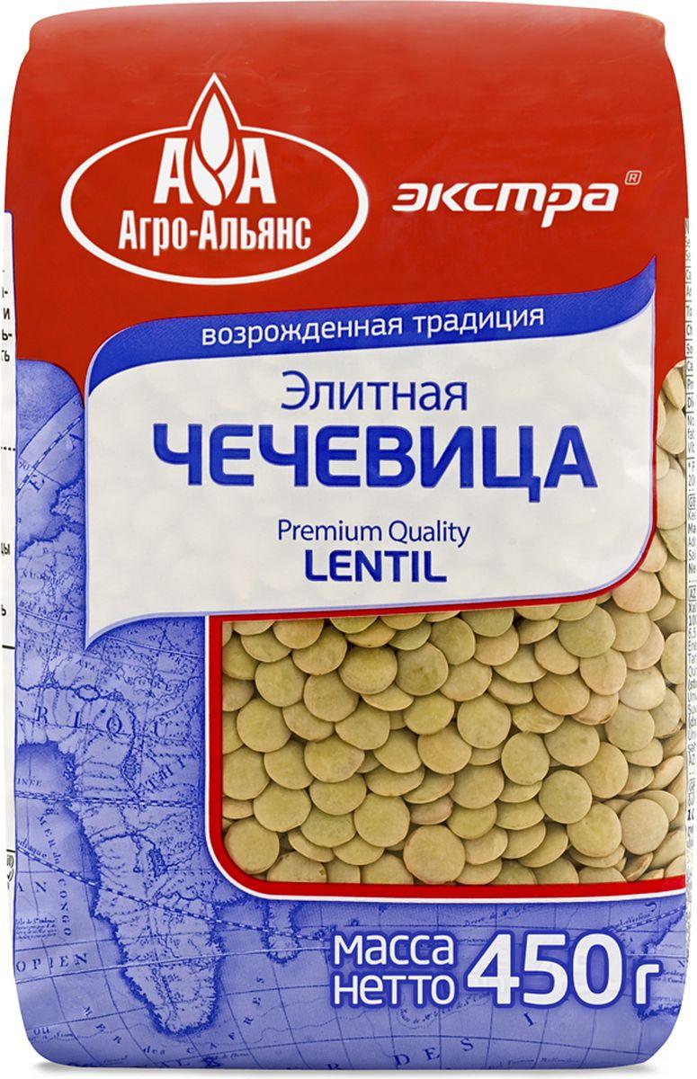 Агро-Альянс Экстра чечевица элитная, 450 г4607072710262Элитная зелёная чечевица относится к сортам отличающимся, прежде всего, высокой питательностью: в ее составе много белка, клетчатки, минералов, витамина В1 и совсем мало жира. Разваривается она быстрее других бобовых, легче усваивается организмом человека и отлично подходит к мясным, рыбным и овощным блюдам.Лайфхаки по варке круп и пасты. Статья OZON Гид