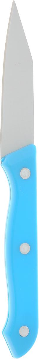 Нож для чистки овощей Доляна Палитра, цвет: голубой, серый, длина лезвия 8 см585345_голубой, серыйНож для чистки овощей Доляна Палитра, изготовленный из высококачественного металла, оснащен пластиковой ручкой. Нож идеален для нарезки овощей и фруктов. Изделие предназначено для профессионального и домашнего использования. В нем отлично сбалансированы лезвия и ручка, позволяя резать быстрее и комфортнее. Лезвие ножа не впитывает запахи, оставляя натуральный вкус продуктов.Общая длина ножа: 19 см.