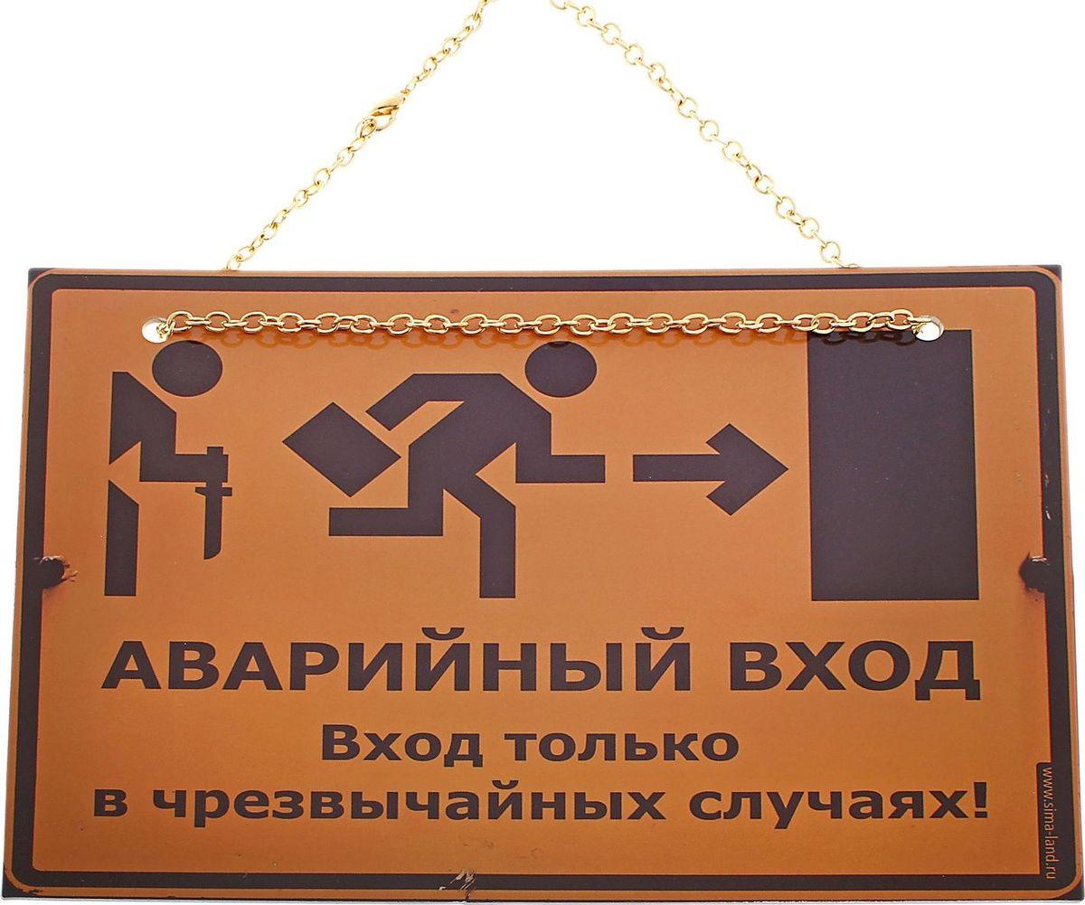 Табличка на дверь Аварийный вход, 21,5 х 16 см545991Оригинальная пластиковая табличка на цепочке сувенир с ноткой юмора, который понравится любому! Подарите её людям, которые любят шутить и веселиться, и они будут часто пользоваться вашим подарком. Такую табличку можно использовать как в офисе, так и дома, она будет поднимать настроение каждому, кто захочет войти в дверь. Табличка может крепиться на цепочке, либо на двустороннем скотче (который идет в комплекте), что позволит быстро и легко повесить табличку на дверь.