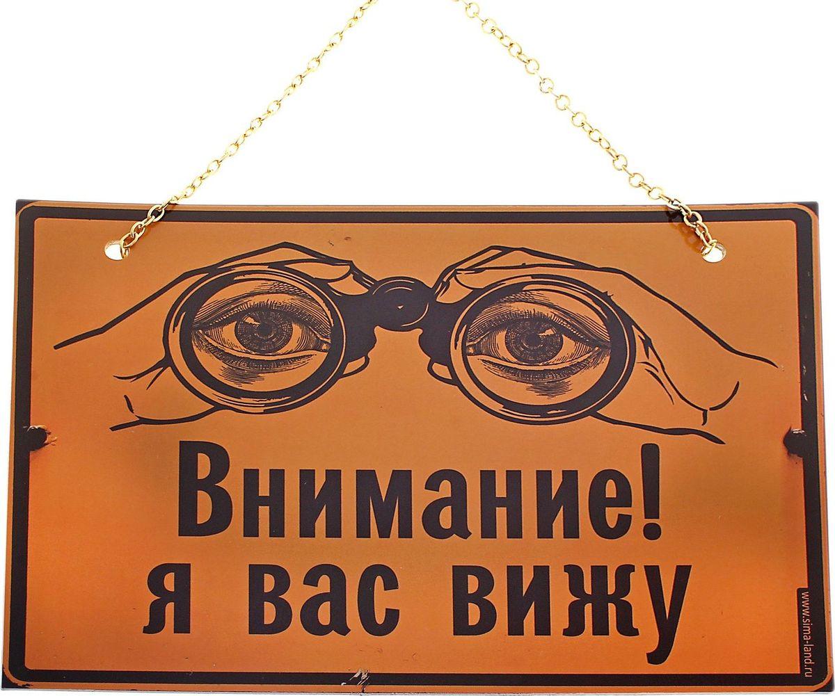 Табличка на дверь Внимание я вас вижу, 21,5 х 16 см545994Пластиковая табличка, которая наверняка поднимет гостю настроение. Подарите её людям, которые любят шутить и веселиться, они будут часто пользоваться вашим подарком. Такую табличку можно использовать как на работе, так и дома.