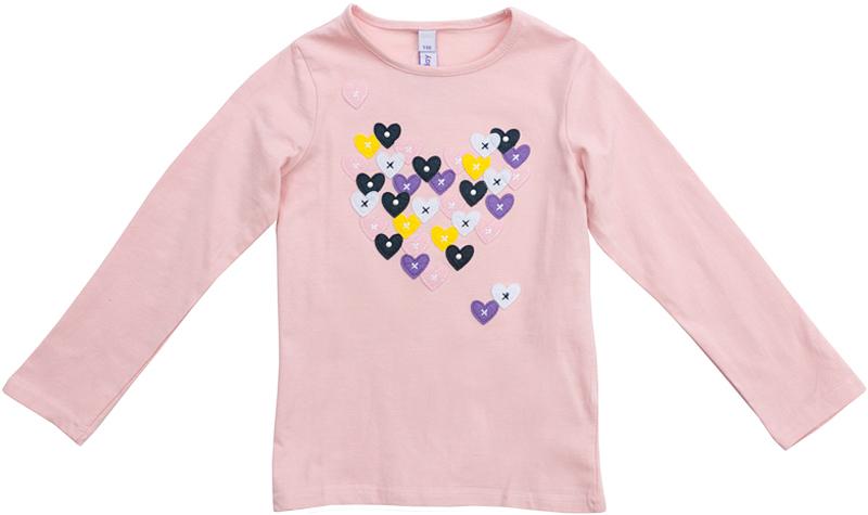 Футболка с длинным рукавом для девочки PlayToday, цвет: светло-розовый. 372077. Размер 110372077Футболка PlayToday выполнена из эластичного хлопка. Модель с длинными рукавами и круглым вырезом горловины оформлена принтом.