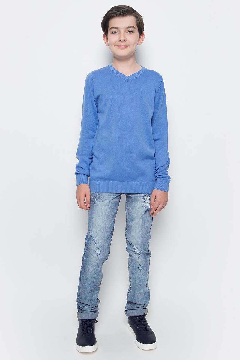 Пуловер для мальчика Sela, цвет: светло-синий. JR-814/250-6332. Размер 152, 12 летJR-814/250-6332Пуловер для мальчика Sela выполнен из натурального хлопка. Материал изделия мягкий и тактильно приятный, не стесняет движений и обладает высокими дышащими свойствами.Классическая модель с длинными рукавами и V-образным вырезом горловины прекрасно сочетается с рубашками. Низ изделия, манжеты и горловина связаны крупной резинкой.Пуловер - хорошая альтернатива пиджаку в прохладное время года. Являясь важным атрибутом школьной моды, он обеспечивает тепло и комфорт.