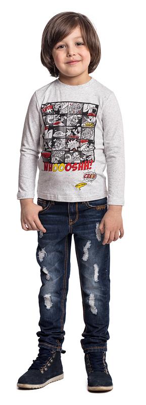 Футболка с длинным рукавом для мальчика PlayToday, цвет: светло-серый. 571002. Размер 128571002Футболка PlayToday выполнена из эластичного хлопка. Модель с длинными рукавами и круглым вырезом горловины оформлена принтом.