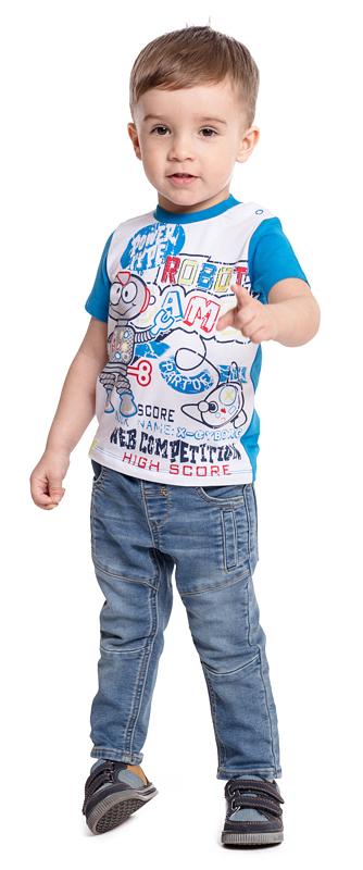 Футболка для мальчика PlayToday, цвет: голубой, белый. 377032. Размер 80377032Футболка PlayToday выполнена из эластичного хлопка. Модель с короткими рукавами и круглым вырезом горловины оформлена принтом. По плечу футболка дополнена удобными застежками-кнопками.