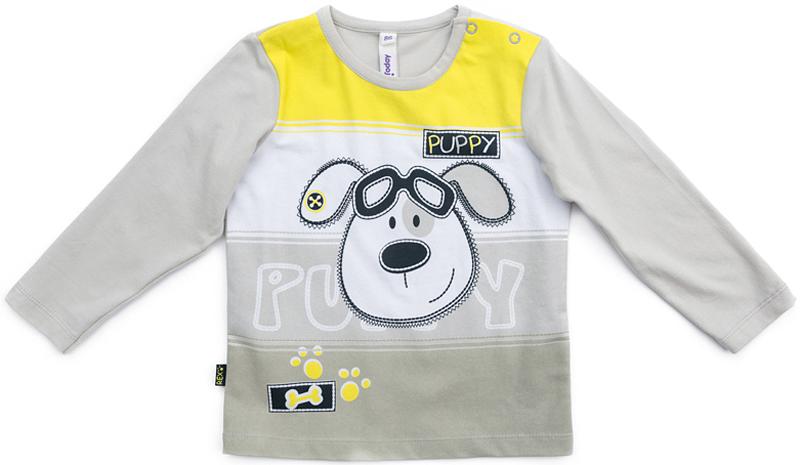 Футболка с длинным рукавом для мальчика PlayToday, цвет: серый, желтый. 377072. Размер 86377072Футболка PlayToday выполнена из эластичного хлопка. Модель с длинными рукавами и круглым вырезом горловины оформлена принтом. По плечу футболка дополнена удобными застежками-кнопками.
