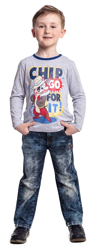 Футболка с длинным рукавом для мальчика PlayToday, цвет: серый. 571051. Размер 128571051Футболка PlayToday выполнена из эластичного хлопка. Модель с длинными рукавами и круглым вырезом горловины оформлена принтом.