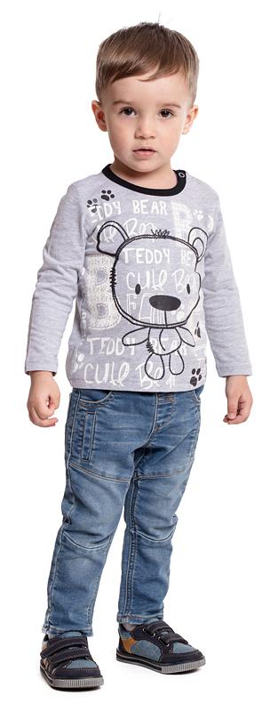 Футболка с длинным рукавом для мальчика PlayToday, цвет: серый. 377027. Размер 74377027Футболка PlayToday выполнена из эластичного хлопка. Модель с длинными рукавами и круглым вырезом горловины оформлена принтом. По плечу футболка дополнена удобными застежками-кнопками.