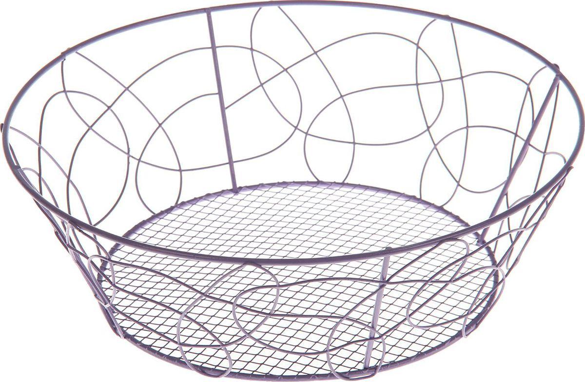 Ваза для фруктов Доляна, 23 х 23 х 7 см1152795Ваза для фруктов изготовлена из тщательно обработанного металла. Предмет покрыт слоем краски, которая не смывается со временем и придаёт изделию элегантный вид.ДостоинстваВысокая прочность.Лёгкость мойки, возможность использования посудомоечной машины.Стойкость к коррозии.Ваза подходит для сервировки стола и долговременного хранения продуктов. Благодаря сетчатому дну может быть использована для мытья фруктов и овощей.