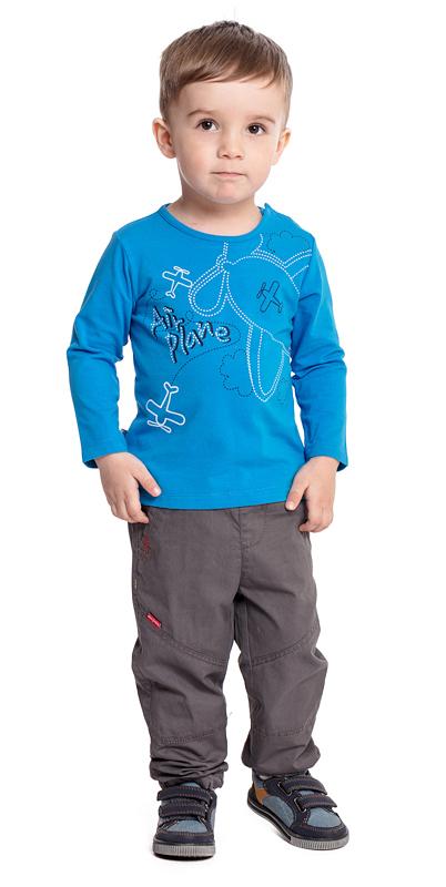 Футболка с длинным рукавом для мальчика PlayToday, цвет: голубой. 377029. Размер 74377029Футболка PlayToday выполнена из эластичного хлопка. Модель с длинными рукавами и круглым вырезом горловины оформлена принтом. По плечу футболка дополнена удобными застежками-кнопками.