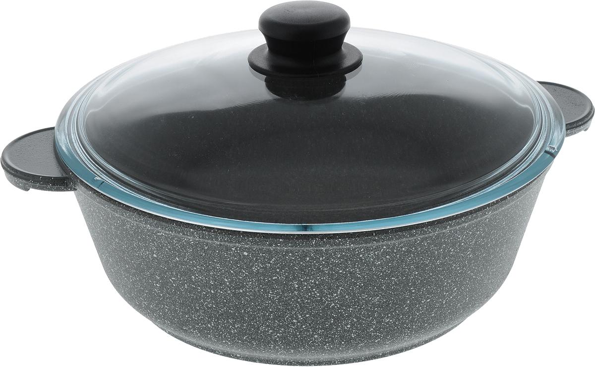 Жаровня Катюша Гранит с крышкой, с антипригарным покрытием, 3 л8026Жаровня Катюша Гранит изготовлена из литого алюминия с антипригарным покрытием, которое предотвращает пригорание и прилипание пищи. Специальным образом отшлифованное дно обеспечивает идеальный контакт с варочной поверхностью. Изделие снабжено стеклянной крышкой. Подходит для газовых, электрических и стеклокерамических плит. Можно мыть в посудомоечной машине. Ширина жаровни (с учетом ручек): 33 см. Высота стенки: 9,5 см. Диаметр жаровни (по верхнему краю): 26 см.Диаметр дна: 20 см.Толщина стенок: 4,5 мм. Толщина дна: 6 мм.