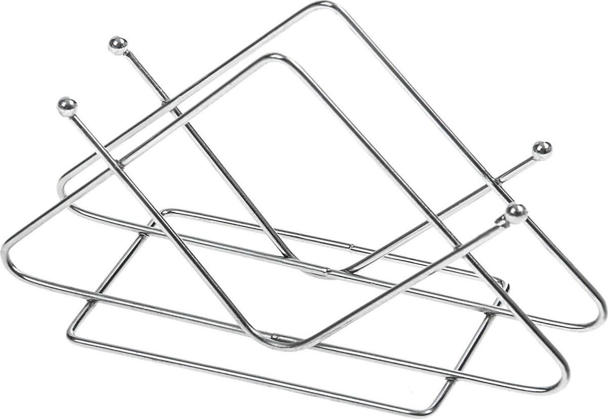 Салфетница Доляна Уголок, 13 х 6 х 8 см830888Салфетница изготовлена из металла. Такая салфетница великолепно украсит праздничный стол.