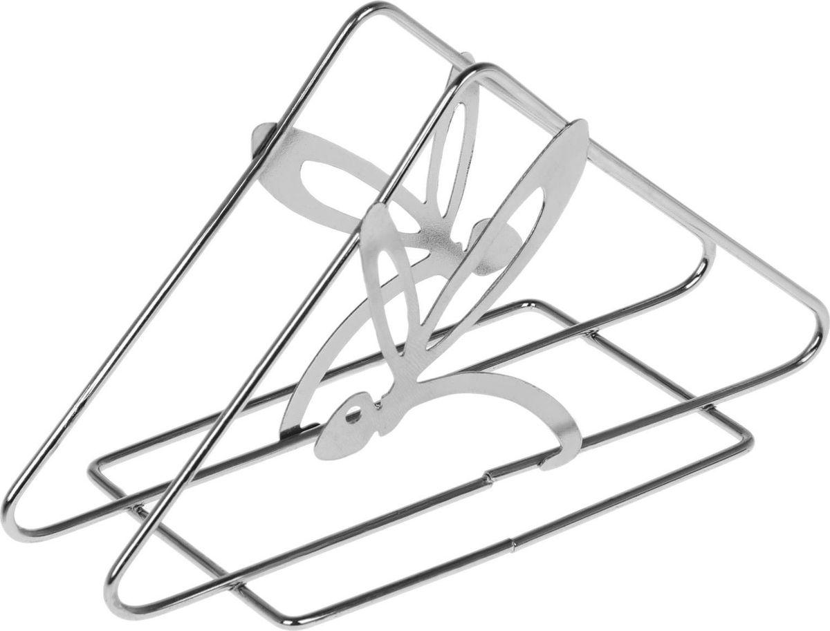 Салфетница Доляна Стрекозка, 14 х 6 х 8 см830890Салфетница изготовлена из металла и оформлена принтом. Такая салфетница великолепно украсит праздничный стол.