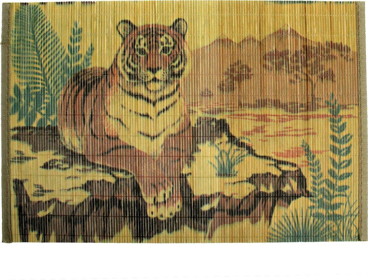 Салфетка на стол Доляна Тигр, 30 х 45 см914863Салфетка на стол Доляна Тигр используется для декорирования стола, в качестве подставки под посуду, бокалы и столовые приборы или для защиты любой поверхности. Она изготовлена из бамбуковых планок и палочек, прошитых прочной леской, с текстильной окантовкой по краям. Бамбуковая салфетка для стола обладает прекрасными внешними качествами и противомикробными свойствами, что особенно ценят люди, которые следят за своим здоровьем. Известная всем поговорка, оформленная в популярном дизайнерском стиле, поднимет настроение. Каждая трапеза станет приятнее и веселей.