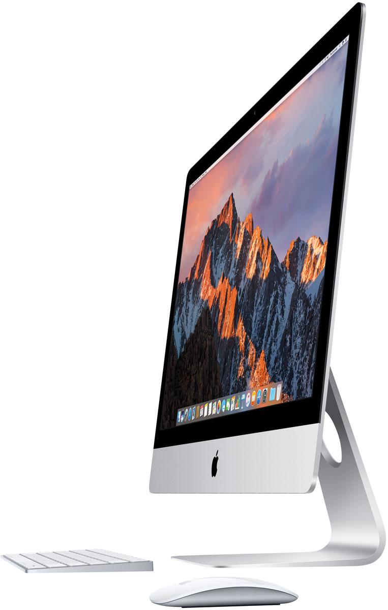 Apple iMac 27 Retina 5K (MNED2RU/A) моноблокMNED2RU/AApple iMac 27 Retina 5K объединяет всё лучшее из мира Mac: мощные технологии, отличную производительность, самую передовую в мире компьютерную операционную систему и великолепные встроенные приложения. А невероятное разрешение 5120 х 2880 пикселей позволит вам увидеть на экране всё, чего вы не видели раньше.Компьютеры iMac стали ещё быстрее и мощнее. Они оснащены процессорами Intel Core i5 и i7 седьмого поколения и новейшими высокопроизводительными графическими процессорами. Системы хранения тоже вышли на новый уровень: высокоскоростной и ёмкий накопитель Fusion Drive теперь по умолчанию устанавливается на модели 21,5 дюйма и 27 дюймов с дисплеем Retina. Вы можете делать на iMac всё, что вам нравится, - на максимальной скорости.Все модели iMac оснащены совершенно новыми процессорами Intel Core 7-го поколения. Скорость iMac поражает: модель 27 дюймов работает с частотой до 4,2 ГГц, модель 21,5 дюйма - до 3,6 ГГц. А когда вы используете такие ресурсоёмкие приложения, как Logic Pro и Final Cut Pro, технология Turbo Boost ускоряет процессор ещё больше. Это происходит незаметно, но разница ощутима.В хранении данных в первую очередь важен объём дискового пространства. Но не будем забывать и о скорости. Накопитель Fusion Drive сочетает в себе оба этих преимущества. Приложения и файлы, которыми вы пользуетесь чаще всего, автоматически сохраняются на быстром флеш-накопителе, а всё остальное перемещается на жёсткий диск большой ёмкости. С накопителем Fusion Drive любые действия - от загрузки компьютера до запуска приложений и импорта фотографий - будут выполняться быстрее и эффективнее.Вы только посмотрите на дисплей Retina нового iMac. Более миллиарда цветов и яркость 500 кд/м2 - изображение буквально оживает и предстаёт в новом цвете. Плотность пикселей настолько высока, что вы не сможете их различить. А чёткий контрастный текст в документах и письмах радует глаз. Ну что сказать, просто это лучший дисплей Retina для Mac.У