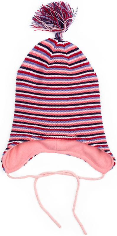 Шапка для девочки PlayToday, цвет: светло-розовый, синий, белый, сиреневый. 378039. Размер 48378039Шапка PlayToday из трикотажа на подкладке - отличное решение для холодной погоды. Модель на завязках, декорирована оригинальным помпоном-кисточкой. Подкладка изделия из теплого флиса, в области ушей дополнена специальными вставками. Эргономичная конструкция такой шапки защитит уши ребенка при сильном ветре.