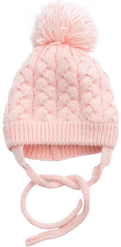 Шапка для девочки PlayToday, цвет: светло-розовый. 372142. Размер 52372142Вязаная шапка PlayToday всегда актуальна в зимнем гардеробе ребенка. Модель на подкладке из теплого флиса. Шапка на завязках, плотно прилегает к голове, комфортна при носке. Декорирована большим помпоном.