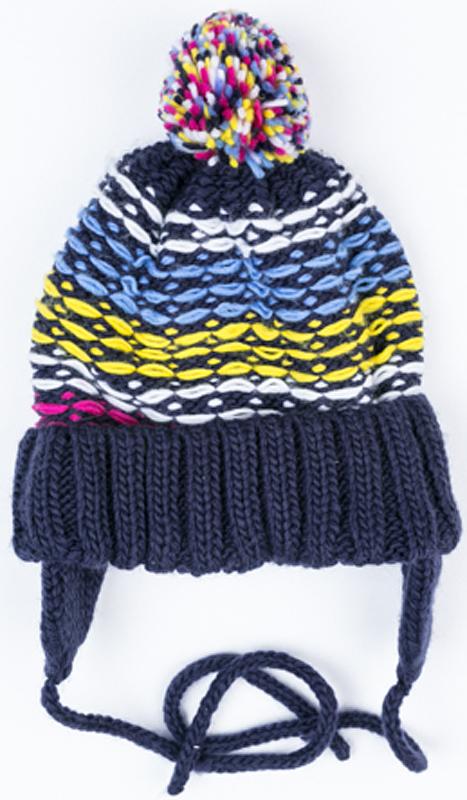 Шапка для девочки PlayToday, цвет: темно-синий, желтый, голубой, белый, розовый. 372171. Размер 50372171Двуслойная шапка PlayToday на завязках крупной вязки. Модель дополнена помпоном. Подкладка из мягкого флиса.