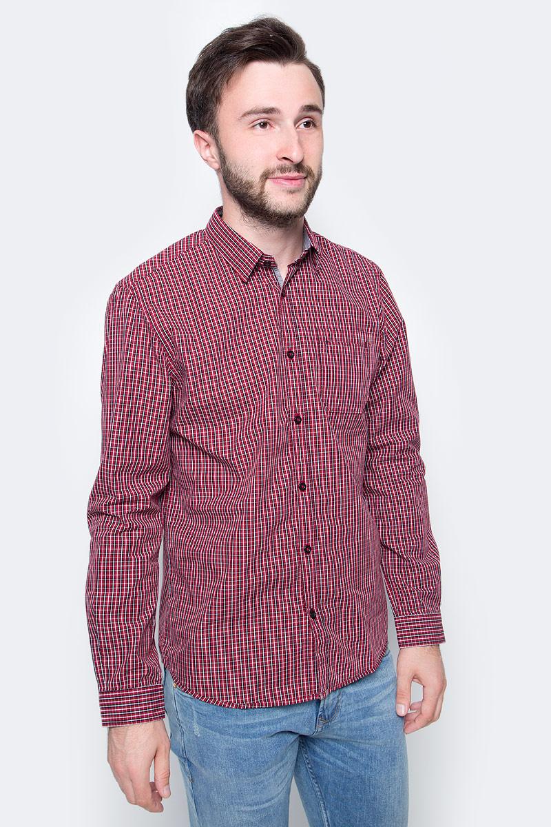 Рубашка мужская Tom Tailor, цвет: красный. 2033600.09.10. Размер M (48) рубашка мужская tom tailor цвет вишневый голубой белый 2032054 00 10 1000 размер m 48