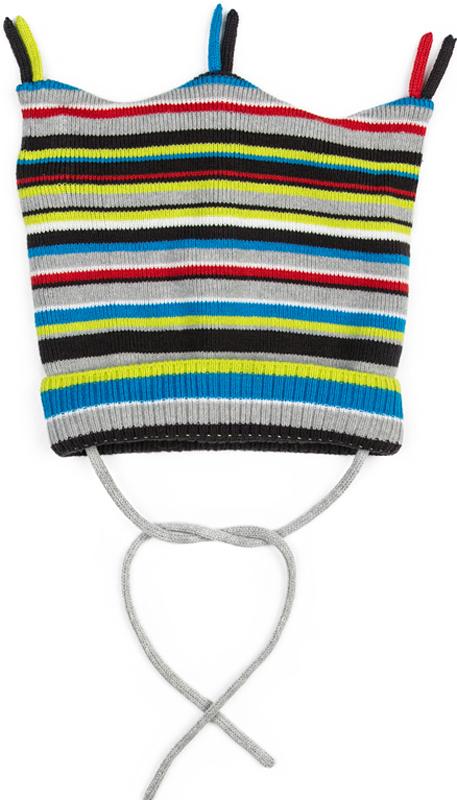 Шапка для мальчика PlayToday, цвет: светло-зеленый, серебрый. 377037. Размер 46377037Двуслойная шапка PlayToday из трикотажа - отличное решение для холодной погоды. Модель на завязках, дополнена оригинальными помпонами - кисточками. Необычная конструкция шапки создает эффект ушек. Модель выполнена в технике Yarn Dyed - в процессе производства используются разного цвета нити. При рекомендуемом уходе изделие не линяет и надолго остается в первоначальном виде.
