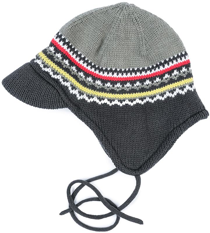 Шапка для мальчика PlayToday, цвет: серый. 377079. Размер 46377079Двуслойная шапка PlayToday на завязках. Модель из смесовой ткани с высоким содержанием натурального хлопка дополнена козырьком. Эргономичная конструкция изделия защищает уши ребенка от ветра.