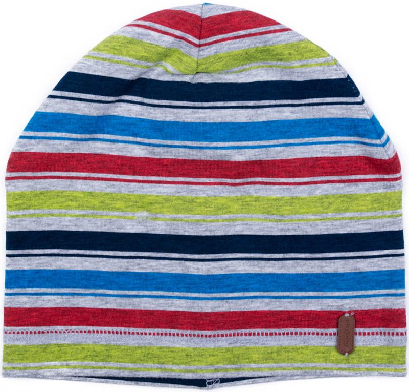 Шапка для мальчика PlayToday, цвет: серый, голубой, красный. 377044. Размер 46377044Шапка PlayToday из трикотажа - отличное решение для прогулок в прохладную погоду. Модель без завязок, плотно прилегает к голове, комфортна при носке. Декорирована принтами.