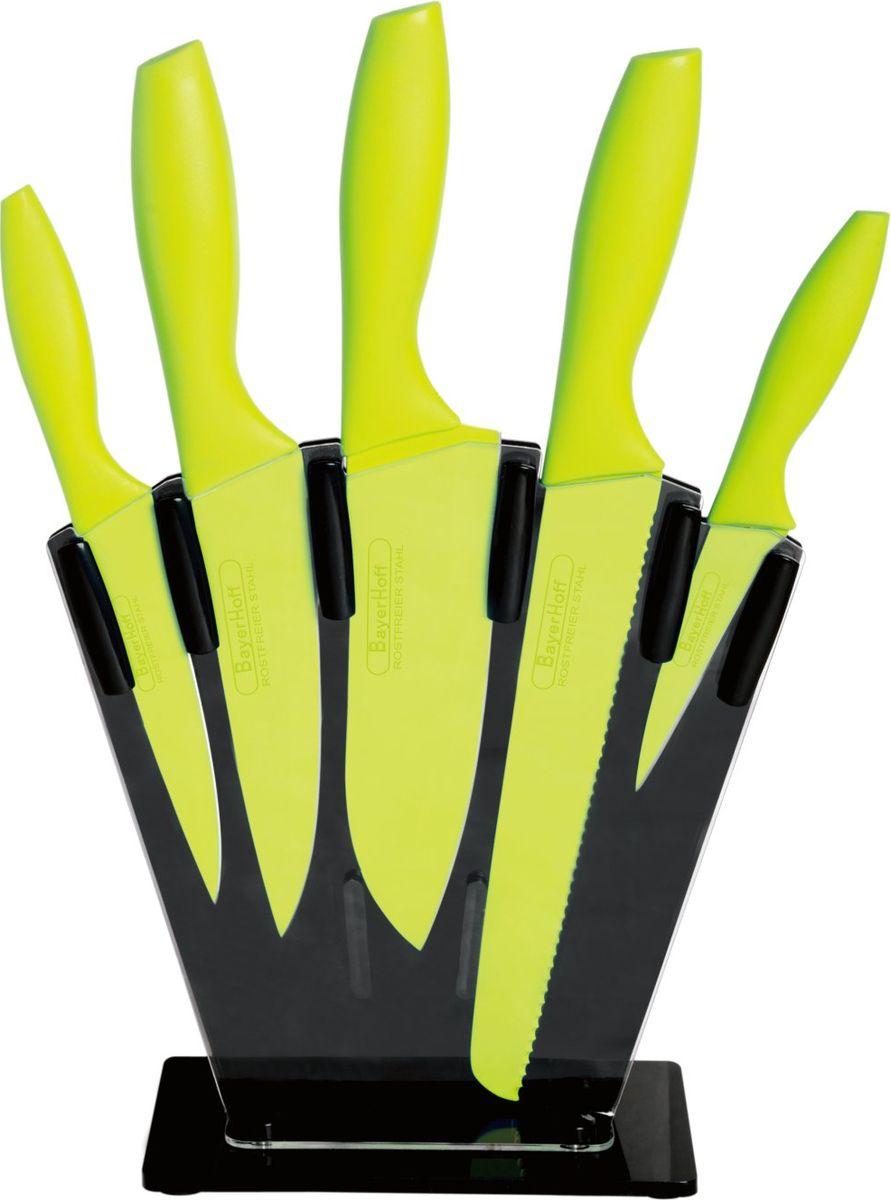 Набор ножей Bayerhoff, на подставке, 6 предметовBH-5100Набор Bayerhoff состоит из пяти ножей и подставки. Лезвия ножей выполнены из нержавеющей стали с антибактериальным покрытием. Эргономичные цветные рукоятки выполнены из пластика. Ножи не оставляют металлического привкуса на продуктах, обеспечивают идеальную нарезку и легко моются. Для хранения ножей предусмотрена пластиковая подставка. Длина лезвия ножа для хлеба: 20 см.Длина лезвия поварского ножа: 15 см.Длина лезвия ножа для нарезки: 15 см. Длина лезвия универсального ножа: 13 см.Длина лезвия ножа для очистки овощей: 9,5 см.