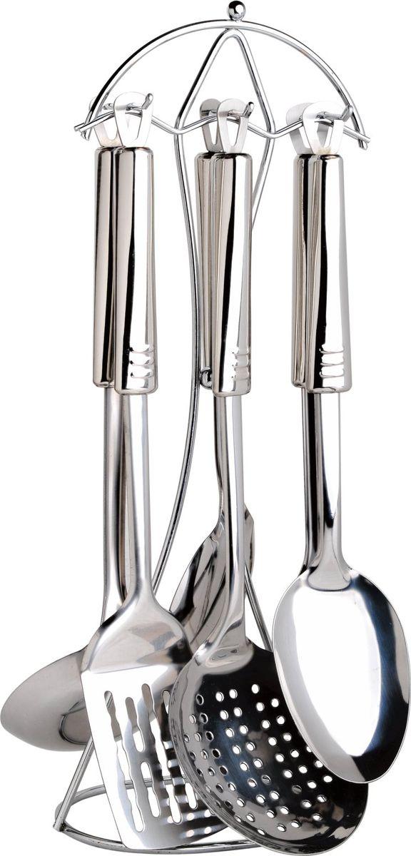 Набор кухонных принадлежностей Bayerhoff, 7 предметов. BH-5121BH-5121Набор кухонных принадлежностей Bayerhoff включает половник, ложку для риса, вилку для мяса, шумовку, ложку гарнирную, кулинарную лопатку. Рабочая поверхность изделий выполнена из высококачественной нержавеющей стали. Эргономичные рукоятки также выполнены из стали. Для хранения инструментов предусмотрена подставка с крючками.Максимальная температура нагрева 210°C.