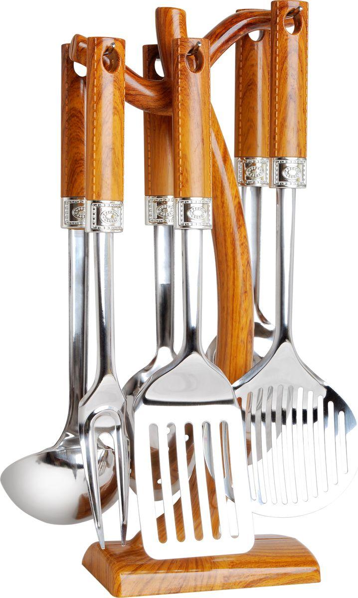 Набор кухонных принадлежностей Bayerhoff, 7 предметов. BH-5144BH-5144Набор кухонных принадлежностей Bayerhoff включает половник, ложку для риса, вилку для мяса, шумовку, ложку гарнирную, кулинарную лопатку. Рабочая поверхность изделий выполнена из высококачественной нержавеющей стали. Эргономичные рукоятки выполнены из сочетания стали и пластика. Для хранения инструментов предусмотрена подставка с крючками.Максимальная температура нагрева 210°C.