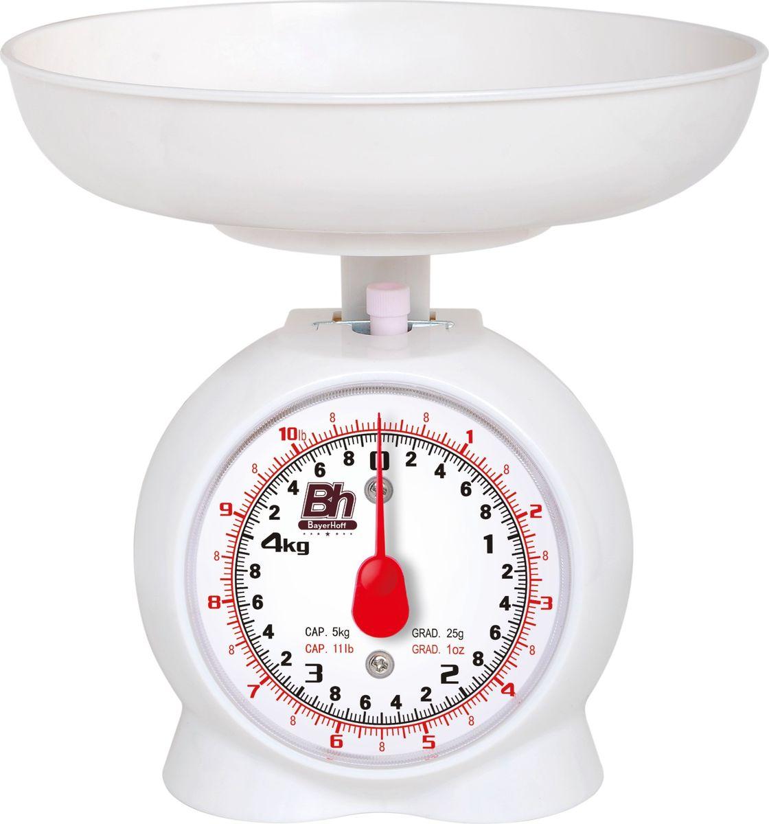 Весы кухонные механические Bayerhoff, цвет: белый, до 5 кгBH-5148Механические кухонные весы Bayerhoff, выполненные из высокопрочного пластика и металла, с большой, хорошо читаемой шкалой и съемной чашей, придутся по душе каждой хозяйке и станут незаменимым аксессуаром на кухне. На шкале с шагом 50 г присутствуют единицы измерения в граммах и килограммах. Весы также дополнены таймером.В комплекте - пластиковая чаша. Весы складываются в чашу для компактного хранения.