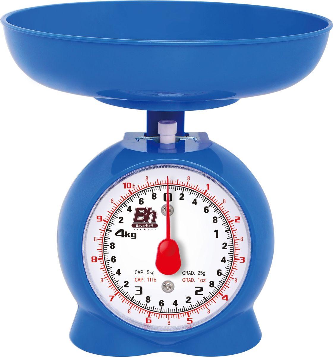 Весы кухонные механические Bayerhoff, цвет: синий, до 5 кгBH-5149Механические кухонные весы Bayerhoff, выполненные из высокопрочного пластика и металла, с большой, хорошо читаемой шкалой и съемной чашей, придутся по душе каждой хозяйке и станут незаменимым аксессуаром на кухне. На шкале с шагом 50 г присутствуют единицы измерения в граммах и килограммах. Весы также дополнены таймером.В комплекте - пластиковая чаша. Весы складываются в чашу для компактного хранения.