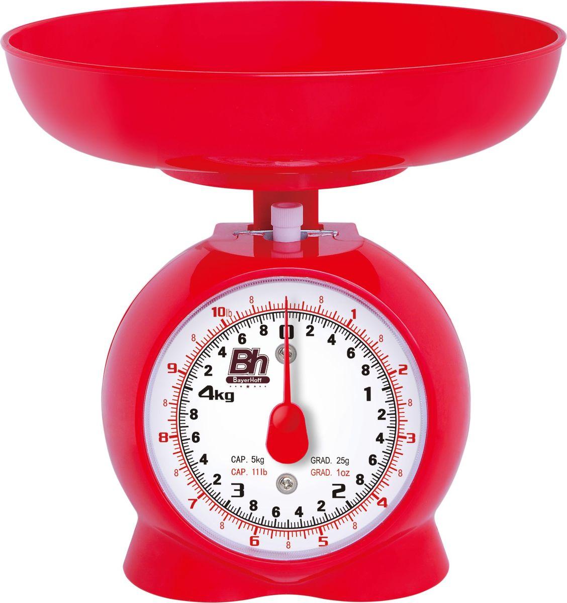 Весы кухонные механические Bayerhoff, цвет: красный, до 5 кгBH-5150Механические кухонные весы Bayerhoff, выполненные из высокопрочного пластика и металла, с большой, хорошо читаемой шкалой и съемной чашей, придутся по душе каждой хозяйке и станут незаменимым аксессуаром на кухне. На шкале с шагом 50 г присутствуют единицы измерения в граммах и килограммах. Весы также дополнены таймером.В комплекте - пластиковая чаша. Весы складываются в чашу для компактного хранения.