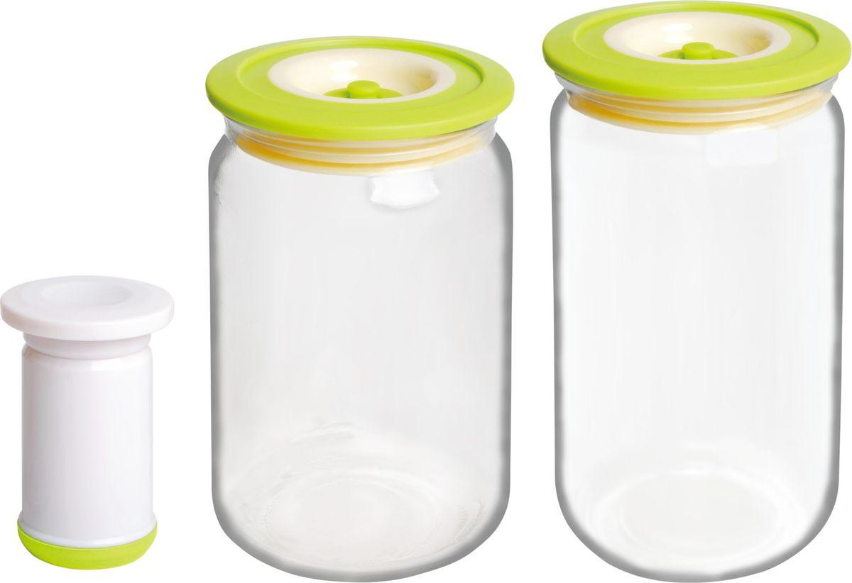 Банки для хранения вакуумные Bayerhoff, с насосом, цвет: салатовый, прозрачный, 3 предметаBH-5191Вакуумные банки для хранения Bayerhoff выполнены из стекла и снабжены комбинированными крышками из пластика и силикона. В комплекте 2 банки разного объема, в которых удобно хранить различные сыпучие продукты. Насос, который также поставляется в комплекте, обеспечивает 100% воздухо- и водонепроницаемость. Вакуумная система позволяет дольше сохранять свежесть продуктов. Объем банок: 750 мл, 1000 мл.