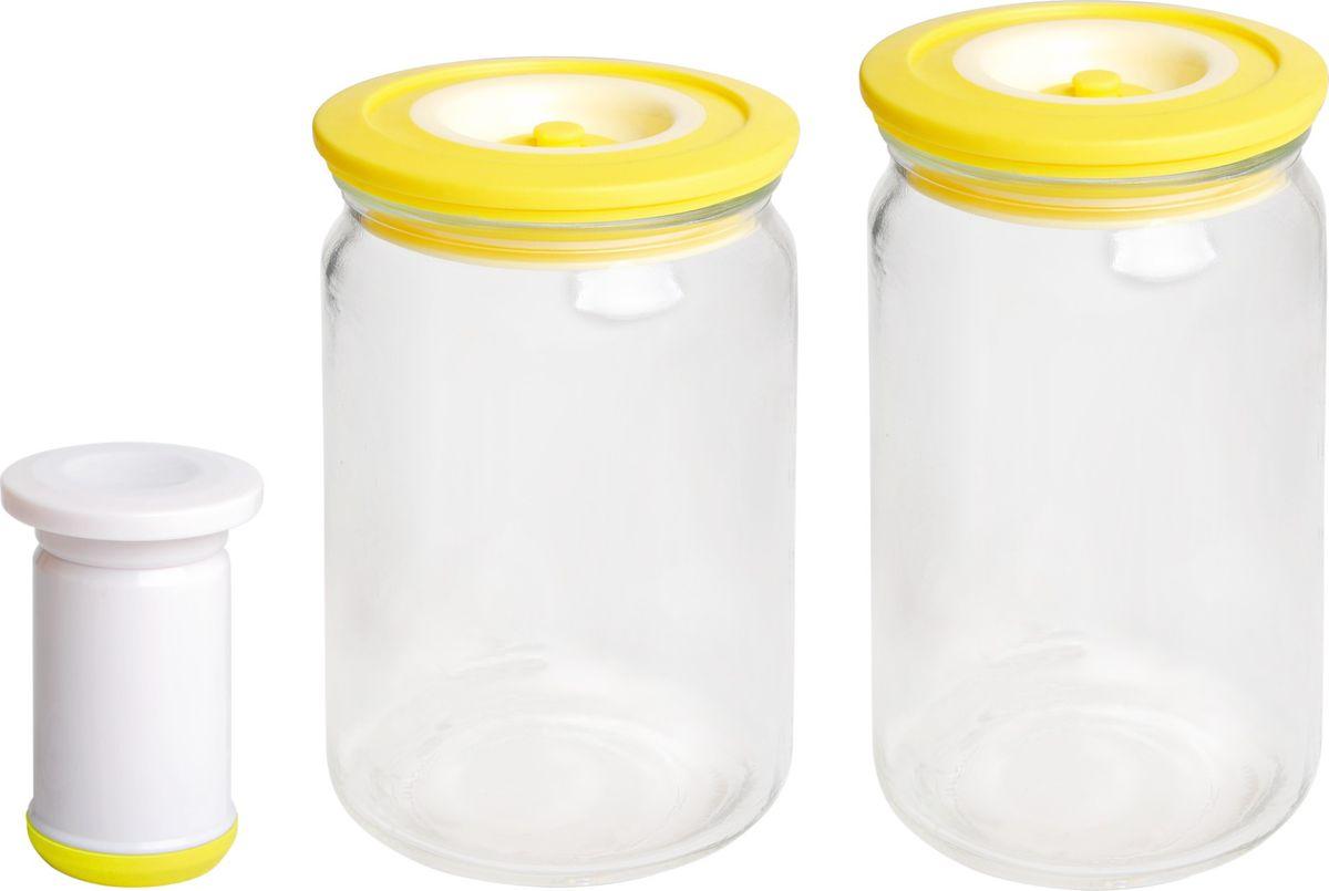 Банки для хранения вакуумные Bayerhoff, с насосом, цвет: желтый, прозрачный, 3 предметаBH-5192Вакуумные банки для хранения Bayerhoff выполнены из стекла и снабжены комбинированными крышками из пластика и силикона. В комплекте 2 банки разного объема, в которых удобно хранить различные сыпучие продукты. Насос, который также поставляется в комплекте, обеспечивает 100% воздухо- и водонепроницаемость. Вакуумная система позволяет дольше сохранять свежесть продуктов. Объем банок: 750 мл, 1000 мл.