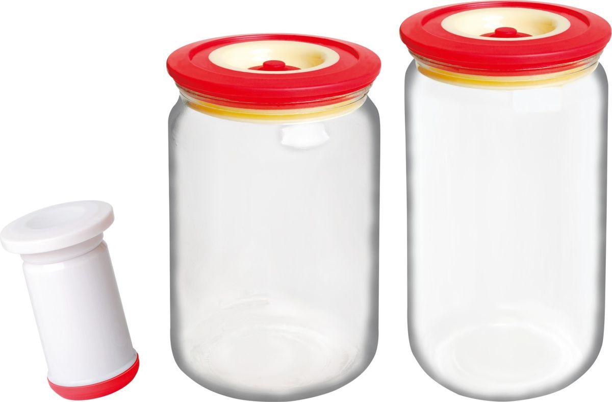 Банки для хранения вакуумные Bayerhoff, с насосом, цвет: красный, прозрачный, 3 предметаBH-5193Вакуумные банки для хранения Bayerhoff выполнены из стекла и снабжены комбинированными крышками из пластика и силикона. В комплекте 2 банки разного объема, в которых удобно хранить различные сыпучие продукты. Насос, который также поставляется в комплекте, обеспечивает 100% воздухо- и водонепроницаемость. Вакуумная система позволяет дольше сохранять свежесть продуктов. Объем банок: 750 мл, 1000 мл.