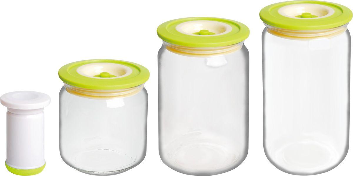 Банки для хранения вакуумные Bayerhoff, с насосом, цвет: зеленый, прозрачный, 4 предметаBH-5195Вакуумные банки для хранения Bayerhoff выполнены из стекла и снабжены комбинированными крышками из пластика и силикона. В комплекте 3 банки разного объема, в которых удобно хранить различные сыпучие продукты. Насос, который также поставляется в комплекте, обеспечивает 100% воздухо- и водонепроницаемость. Вакуумная система позволяет дольше сохранять свежесть продуктов. Объем банок: 500 мл, 750 мл, 1 л. Диаметр банок: 9 см. Высота банок: 10 см, 15 см, 17 см.